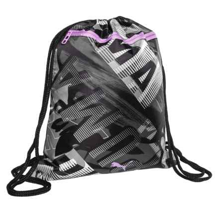 Puma Evercat Match Carrysak Drawstring Backpack (For Girls) in Black/White/Grey - Closeouts