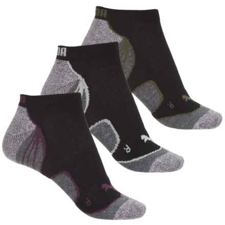 Puma Extended Terry Socks - 3-Pack, Below the Ankle (For Women) in Black/Green - Closeouts