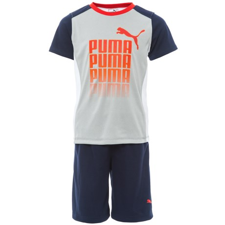 Puma Fading Logo T-Shirt and Shorts Set - Short Sleeve (For Little Boys) in Light Heather Grey