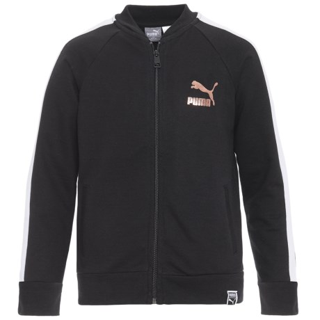 Puma Fashion French Terry Jacket - Zip Front (For Big Girls) in Puma Black