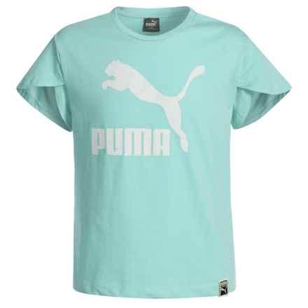 Puma Fashion Jersey Shirt - Short Sleeve (For Big Girls) in Aquifer - Closeouts