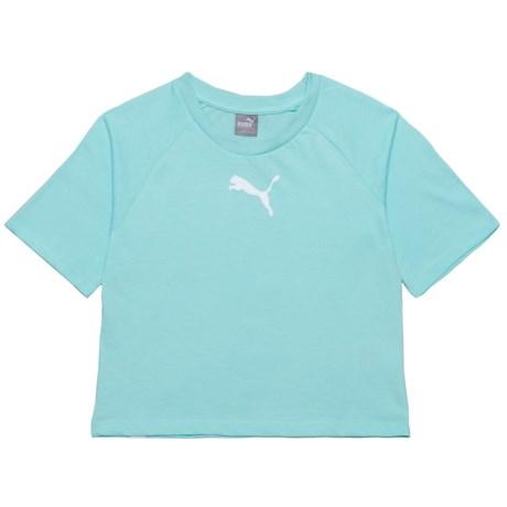 Puma Fashion Logo Shirt - Short Sleeve (For Big Girls) in Island Paradise