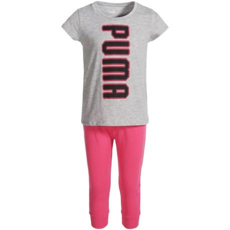 Puma Fashion Logo T-Shirt and Capris Set - Short Sleeve (For Little Girls) in Light Heather Grey