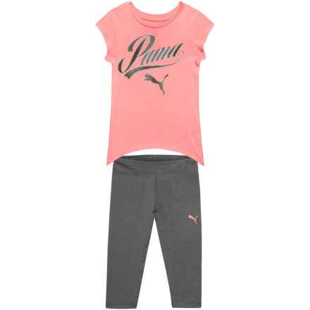 Puma Fashion T-Shirt and Capris Set - Short Sleeve (For Little Girls) in Soft Flush Peach - Closeouts