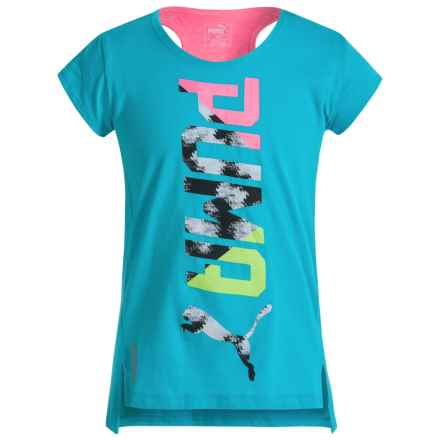 Puma Fashion T-Shirt - Crew Neck, Short Sleeve (For Big Girls) in Blue Atoll - Closeouts