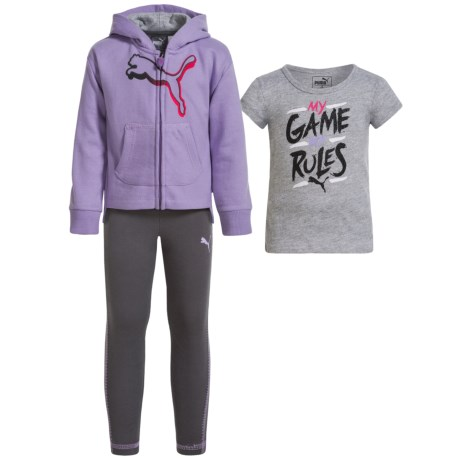 Puma Fleece Hoodie, Shirt and Leggings Set (For Toddlers) in Winner Lilac