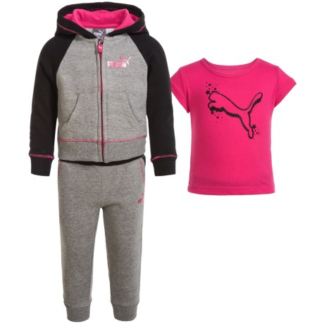 Puma Fleece Hoodie, Shirt and Pants Set (For Toddlers) in Medium Heather Grey P060