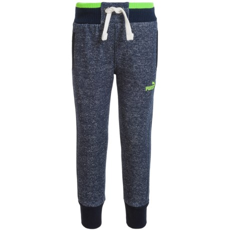 Puma Fleece Joggers - Cotton Blend (For Little Boys) in P491 Navy Heather