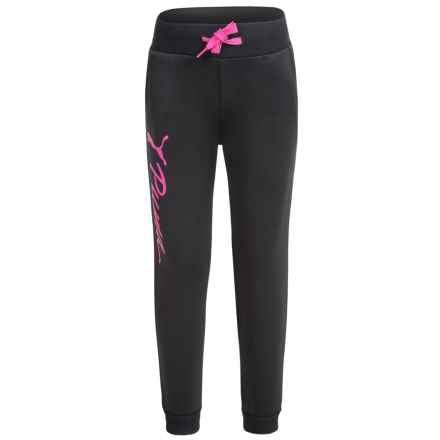 Puma Fleece Joggers (For Little Girls) in Black/ Pink - Closeouts