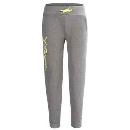 Puma Fleece Joggers (For Little Girls) in Medium Grey/Lime - Closeouts