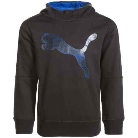 Puma Fleece Logo Hoodie (For Little Boys) in Black/Blue - Closeouts