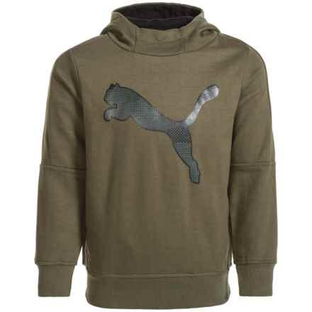 Puma Fleece Logo Hoodie (For Little Boys) in Green/Black - Closeouts