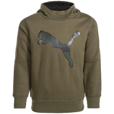 Puma Fleece Logo Hoodie (For Little Boys) in Green/Black