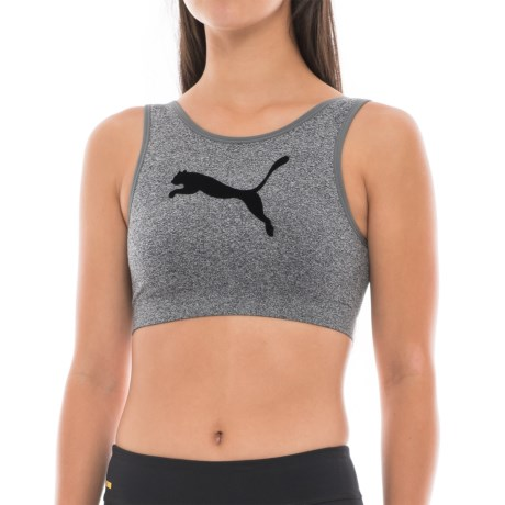 Puma Flocked Logo Sports Bra - Low Impact (For Women) in Charcoal