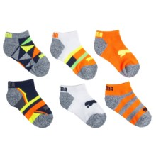 Puma Fluorescent Pattern Socks - Below-the-Ankle, 6-Pack (For Boys) in Blue/Orange - Closeouts