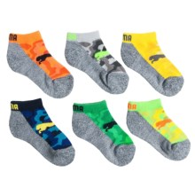 Puma Fluorescent Pattern Socks - Below-the-Ankle, 6-Pack (For Boys) in Bright Camo - Closeouts