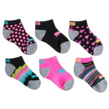 Puma Fluorescent Pattern Socks - Below-the-Ankle, 6-Pack (For Girls) in Black/Blue - Closeouts