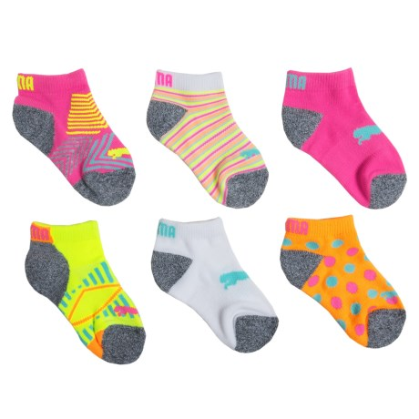 Puma Fluorescent Pattern Socks - Below-the-Ankle, 6-Pack (For Girls) in Pink/Yellow
