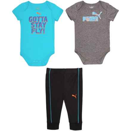 Puma Fly Baby Bodysuits and Joggers Set - 3-Piece, Short Sleeve (For Infant Boys) in Charcoal Heather - Closeouts