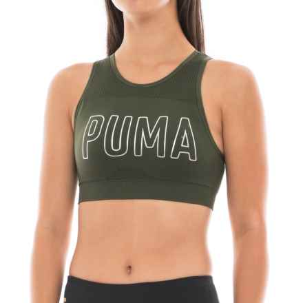 Puma Foil-Logo Seamless Sports Bra - Low Impact, Removable Cups (For Women) in 340 Olive - Closeouts