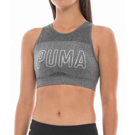 Puma Foil-Logo Seamless Sports Bra - Low Impact, Removable Cups (For Women) in Charcoal - Closeouts