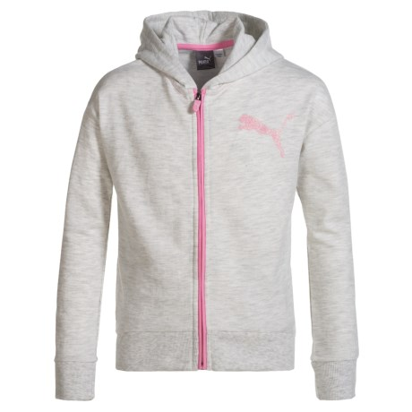 Puma French Terry Zip Hoodie (For Big Girls) in Gray