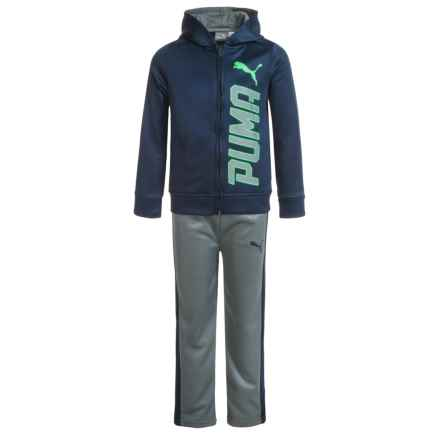 Puma Full-Zip Hoodie and Sweatpants Set (For Little Boys) in Blue/Green/Grey - Closeouts
