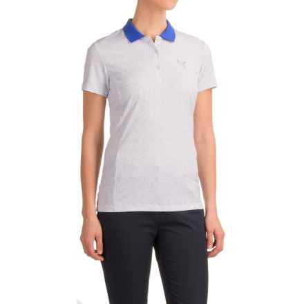 Puma Glitch Print PC Polo Shirt - UPF 40+, Short Sleeve (For Women) in Bright White/Dazzling Blue - Closeouts