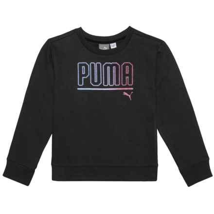 Puma Glittery Logo Sweatshirt (For Little Girls) in Puma Black - Closeouts