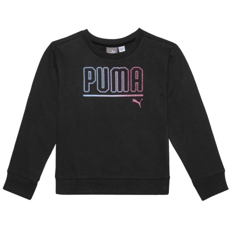 Puma Glittery Logo Sweatshirt (For Little Girls) in Puma Black