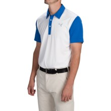 Puma Golf Back Print Polo Shirt - UPF 40+, Short Sleeve (For Men) in White/Strong Blue - Closeouts
