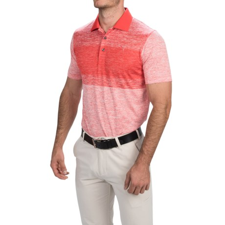 Puma Golf Novelty Stripe Polo Shirt UPF 40+, Short Sleeve (For Men)