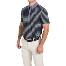 Puma Golf Stripe Polo Shirt - UPF 40+, Short Sleeve (For Men) in Folkstone Gray/Black - Closeouts