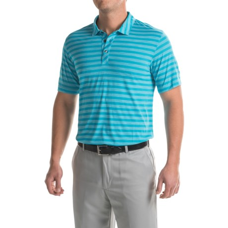 Puma Golf Striped Crest Polo Shirt - Short Sleeve (For Men) in Hawaiian Ocean