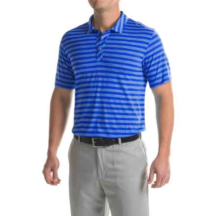 Puma Golf Striped Crest Polo Shirt - Short Sleeve (For Men) in Surf The Web - Closeouts