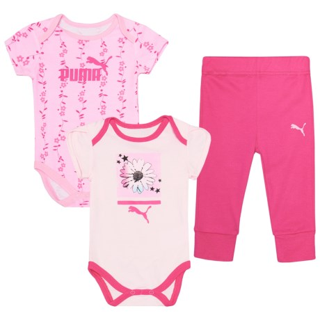 Puma Graphic Baby Bodysuits and Joggers Set -  3-Piece, Short Sleeve (For Infant Girls) in Cherry Blossom