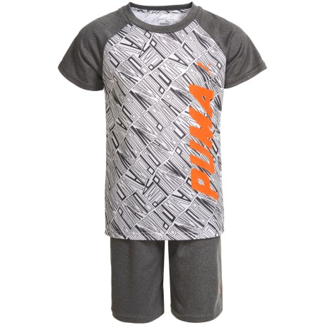 Puma Graphic Print T-Shirt and Shorts - Short Sleeve (For Little Boys) in Puma White
