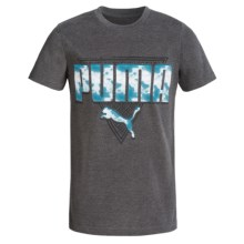 Puma Graphic T-Shirt - Short Sleeve (For Big Boys) in Charcoal Heather - Closeouts