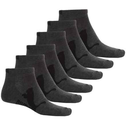 Puma Half Terry Low-Cut Socks - 6-Pack, Ankle (For Men) in Dark Gray - Closeouts