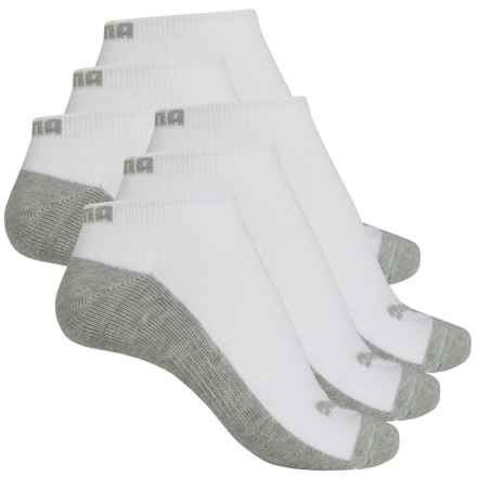Puma Half Terry Low-Cut Socks - 6-Pack, Below the Ankle (For Women) in White/Grey - Closeouts