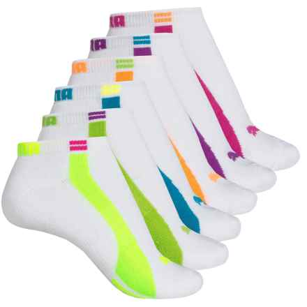 Puma Half Terry Low-Cut Socks - 6-Pack, Below the Ankle (For Women) in White/Pink - Closeouts