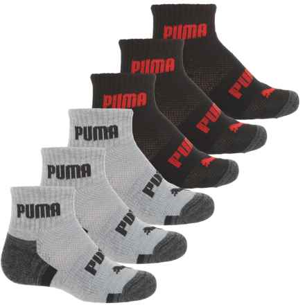 Puma Half Terry Socks - 6-Pack, Ankle (For Boys) in Gray / Black - Closeouts