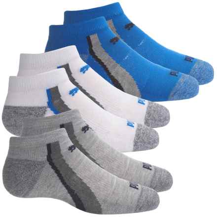 Puma Half Terry Socks - 6-Pack, Below the Ankle (For Big Boys) in White/Blue - Closeouts