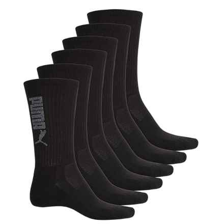 Puma Half Terry Socks - 6-Pack, Crew (For Men) in Black Grey - Closeouts