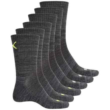 Puma Half Terry Socks - 6-Pack, Crew (For Men) in Black/Silver - Closeouts