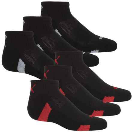 Puma Half Terry Socks - 6-Pack, Quarter Crew (For Big Boys) in Black - Closeouts