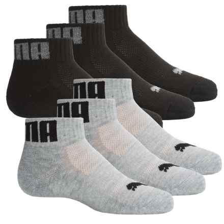 Puma Half Terry Socks - 6-Pack, Quarter Crew (For Big Boys) in Gray/Black - Closeouts