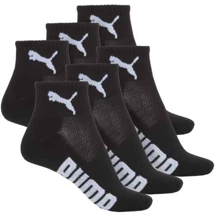Puma Half-Terry Socks - 6-Pack, Quarter Crew (For Women) in Black/White - Closeouts