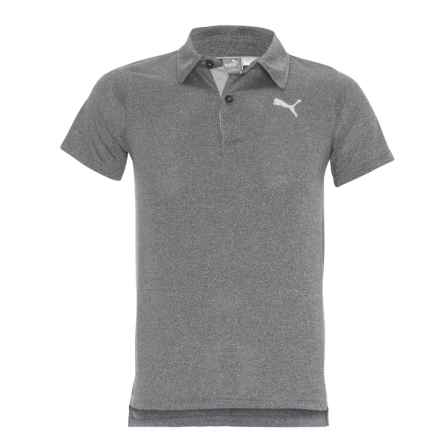 Puma Heathered High-Performance Polo Shirt - Short Sleeve (For Little Boys) in Black Heather - Closeouts