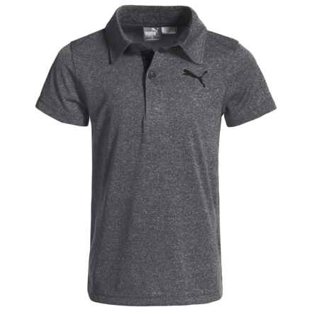 Puma Heathered High-Performance Polo Shirt - Short Sleeve (For Little Boys) in Castor Grey Heather - Closeouts